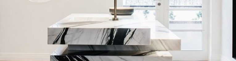 modern kitchen benchtop made out of marble stones